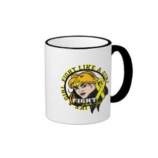 Osteosarcoma Fight Like A Girl Attitude Ringer Coffee Mug