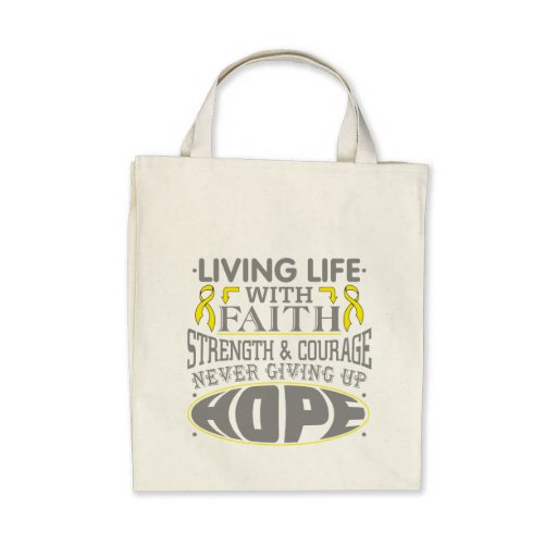 Osteosarcoma Living Life with Faith Tote Bags