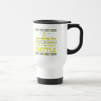 Osteosarcoma Supporting My Hero 15 Oz Stainless Steel Travel Mug