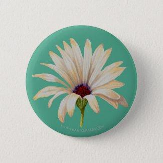 Osteospermum Bloom on Aqua Button