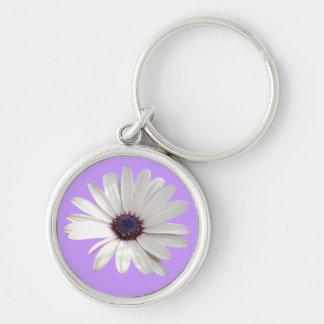 Osteospermum Daisy with Purple Centre Silver-Colored Round Keychain