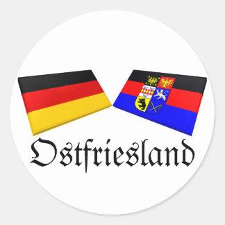 Ostfriesland, tejas de la bandera de Alemania Pegatina Redonda