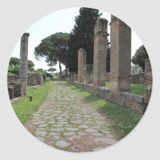 Ostia - ciudad del puerto de Roma antigua Pegatina Redonda