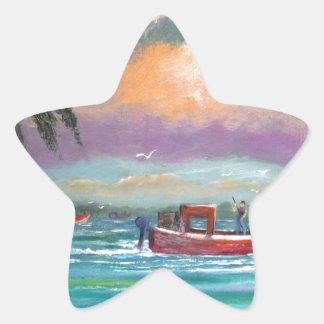 Ostra que cosecha en la bahía de Apalachicola Pegatina En Forma De Estrella