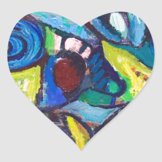 Ostracized Fishes (abstract expressionism) Heart Sticker