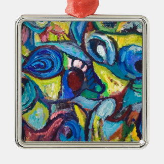 Ostracized Fishes (abstract expressionism) Metal Ornament
