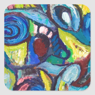 Ostracized Fishes (abstract expressionism) Square Sticker