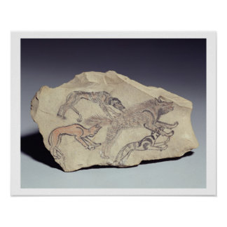 Ostracon depicting a dog chasing a hyena (limeston poster