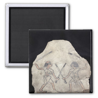 Ostrakon depicting two men fighting with 2 inch square magnet