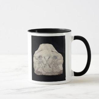 Ostrakon depicting two men fighting with mug