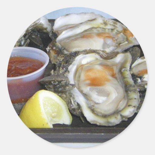ostras del appalachicola pegatina redonda
