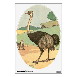 Ostrich and Baby Chicks Wall Sticker