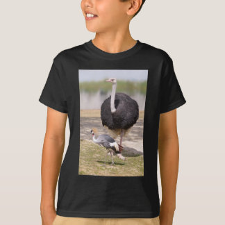 Ostrich and Black Crowned Crane T-Shirt