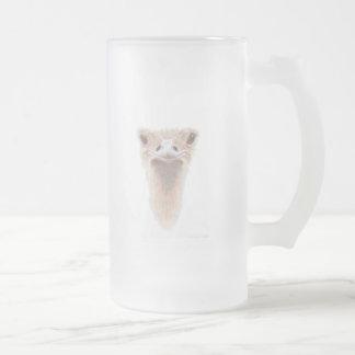 Ostrich Art Frosted Glass Mug