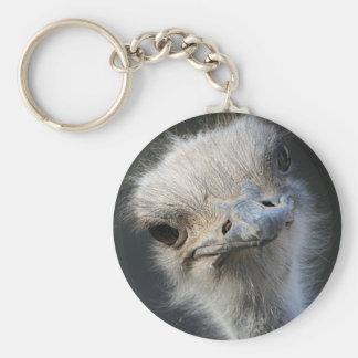 Ostrich Basic Round Button Keychain