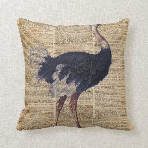 Ostrich Big Bird Animal Vintage Dictionary Art Throw Pillow Zazzle