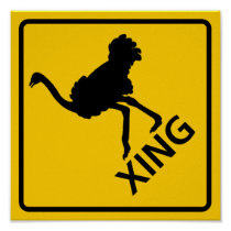 Ostrich Crossing Highway Sign