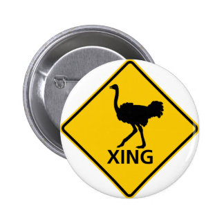 Ostrich Crossing Highway Sign Button
