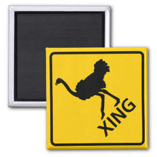 Ostrich Crossing Highway Sign Magnet