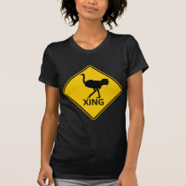 Ostrich Crossing Highway Sign T-Shirt