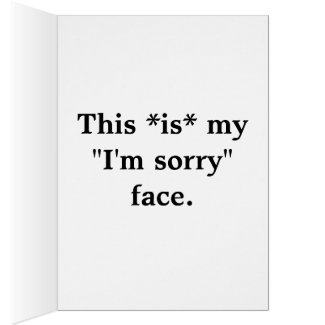 "Ostrich Face of ""I'm Sorry"" Notecard"