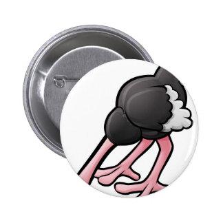 Ostrich Head Buried Cartoon Character Pinback Button