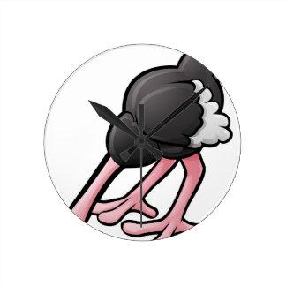 Ostrich Head Buried Cartoon Character Round Clock
