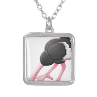 Ostrich Head Buried Cartoon Character Silver Plated Necklace