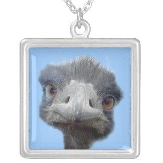Ostrich head square pendant necklace