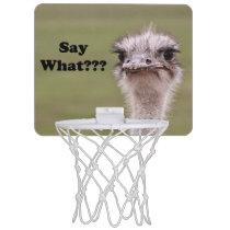 Ostrich Head Say What Photo Mini Basketball Backboard