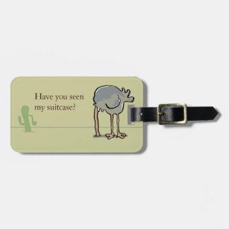 ostrich hiding bag tag