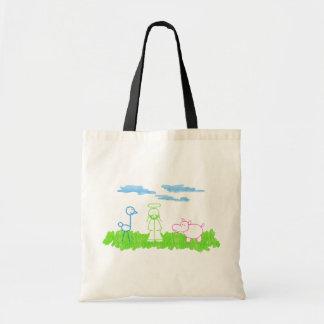 Ostrich, Hippo & Jesus on Grass Bag
