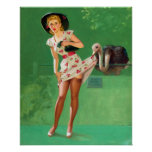 Ostrich Pin Up Poster