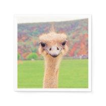Ostrich portrait napkin