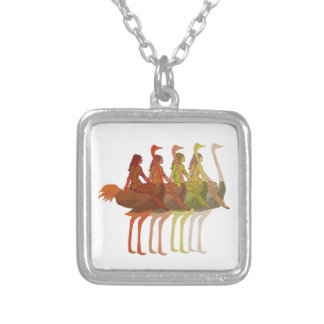 Ostrich Riding Silver Plated Necklace