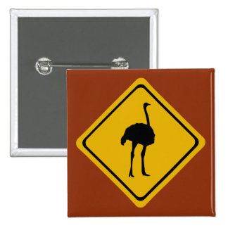 ostrich road sign pinback button