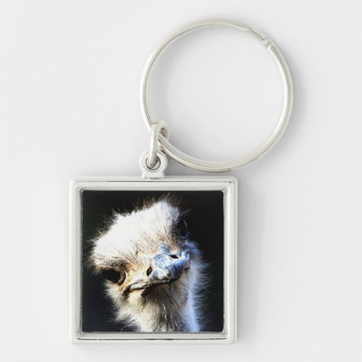 Ostrich Silver-Colored Square Keychain
