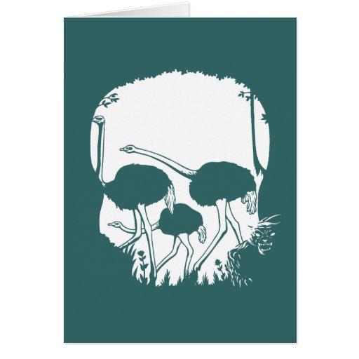 Ostrich Skull Illusion Greeting Card