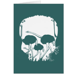 Ostrich Skull Illusion Greeting Cards