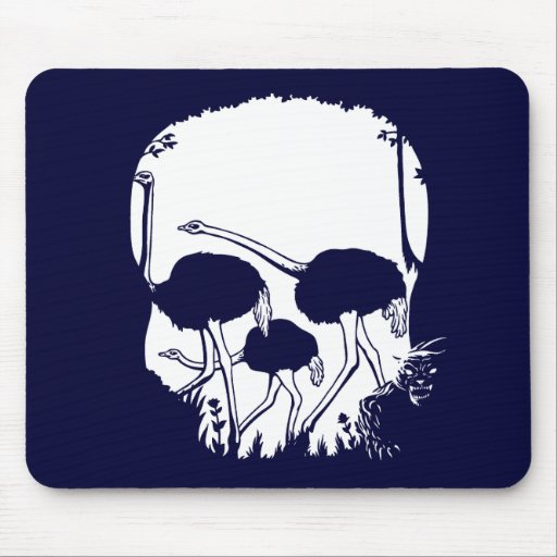 Ostrich Skull Illusion Mousepads