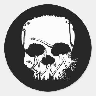 Ostrich Skull Illusion Stickers