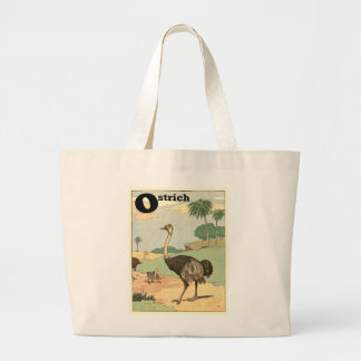 Ostrich Storybook Drawing Large Tote Bag