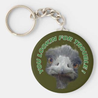 Ostrich trouble basic round button keychain