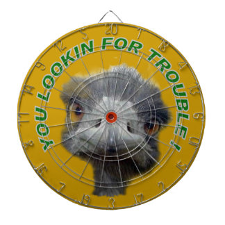 Ostrich trouble dartboard with darts