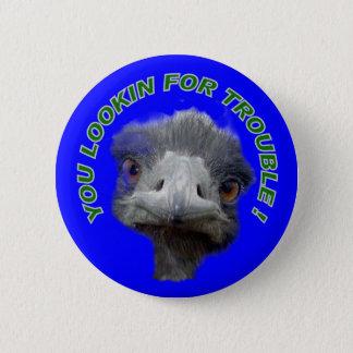Ostrich trouble pinback button