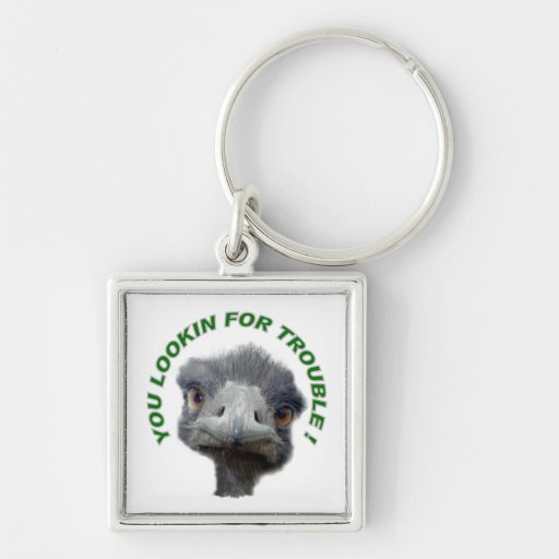 Ostrich trouble Silver-Colored square keychain