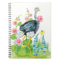 Ostrich watercolor rose notebook