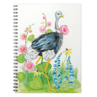 Ostrich watercolor rose spiral notebook