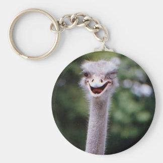Ostrich Winking - Funny Basic Round Button Keychain