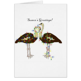 Ostriches in Crhistmas Lights Card